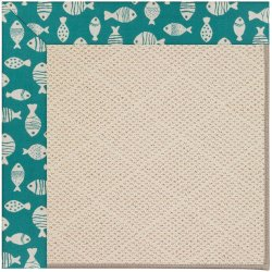 Creative Concepts-White Wicker Go Fish Turquoise Machine Tufted Rugs