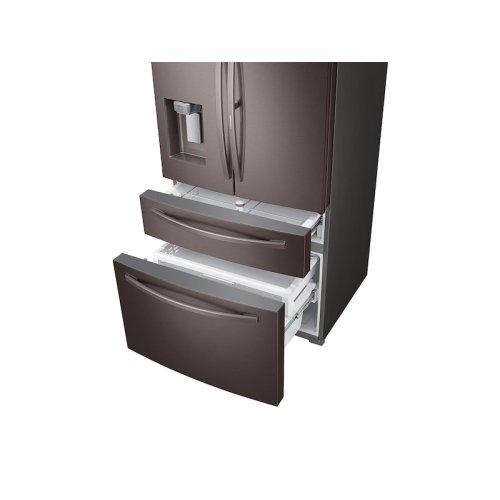 22 cu. ft. 4-Door French Door, Counter Depth Refrigerator with Food Showcase in Tuscan Stainless Steel