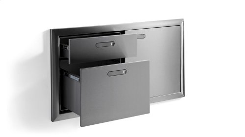 "42"" Storage door & double drawer"