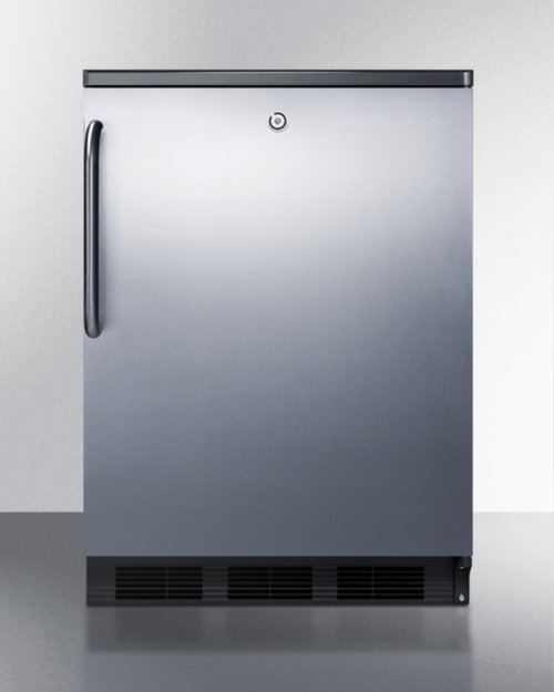 Commercially Listed Built-in Undercounter All-refrigerator for General Purpose Use, Auto Defrost W/ss Wrapped Door, Towel Bar Handle, Lock, and Black Cabinet