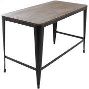 Pia Office Desk - Black Metal, Espresso Bamboo Product Image