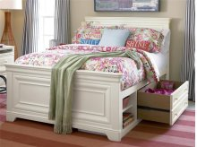 Storage Unit with Side Rail Panel - Summer White