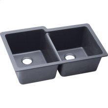 """Elkay Quartz Classic 33"""" x 20-1/2"""" x 9-1/2"""", Offset Double Bowl Undermount Sink, Dusk Gray"""