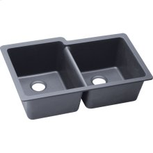 "Elkay Quartz Classic 33"" x 20-1/2"" x 9-1/2"", Offset Double Bowl Undermount Sink, Dusk Gray"