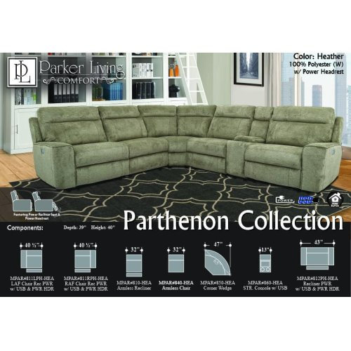 Parthenon Heather Power Right Arm Facing Recliner