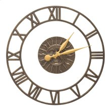 """Sunface Floating Ring 21"""" Indoor Outdoor Wall Clock - French Bronze"""