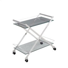 """Two Tier 31"""" Rolling Bar Cart,silver"""