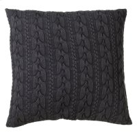 Oversized Charcoal Grey Cable Knit Acid Wash Floor Pillow with Leather Handle. Product Image
