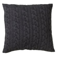 Oversized Charcoal Grey Cable Knit Acid Wash Floor Pillow with Leather Handle.