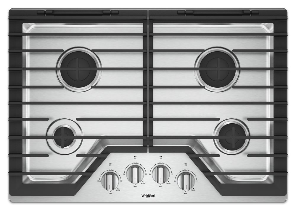 54d2a21ad WCG55US0HS Whirlpool 30-inch Gas Cooktop with EZ-2-Lift Hinged Cast ...