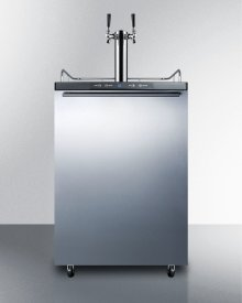 Built-in Commercially Listed Beer Dispenser, Auto Defrost With Digital Thermostat, Dual Tap System, Stainless Steel Door, Horizontal Handle, and Black Cabinet