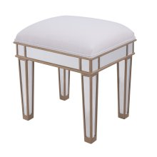 Vanity Chair 18 in. x 14 in. x 18 in. Gold Finish with Clear Mirror