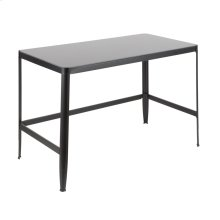 Pia Office Desk - Black Metal, Black Frosted Glass