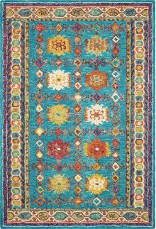 Vibrant Vib09 Teal Rectangle Rug 5' X 7'6''