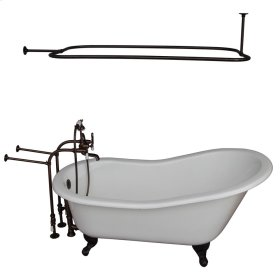 "Griffin 61"" Cast Iron Slipper Tub Kit - Oil Rubbed Bronze Accessories - White"