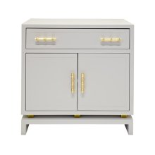 Matte Gray Lacquer (1) Drawer, 2 - Door Nightstand With Gold Leafed Bamboo Hardware and Gold Leaf Detail On Base. Drawer On Glides. Non Adjustable Shelf In Middle of Interior.