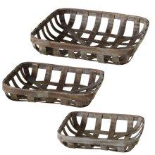 Distressed Square Basket Tray (3 pc. set)