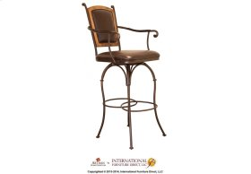 """24"""" Swivel Barstool Armless - Pine wood frame on Back, with Faux Leather seat and back"""