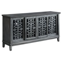 Garrison Brushed Charcoal Metallic 4 Sliding Door Media Console