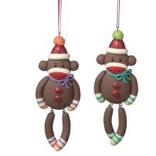 Monkey with Dangle Legs Ornaments (2 asstd)