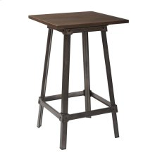 Indio Pub Table In Matte Industiral Steel Finish With Vintage Ash Walnut Top