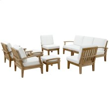 Marina 9 Piece Outdoor Patio Teak Set in Natural White