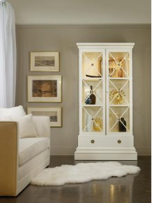 Classical Display Case- Ivory, Painted White Finish. Solid Brass Details. Glass Adjusted Shelves and Interior Light.