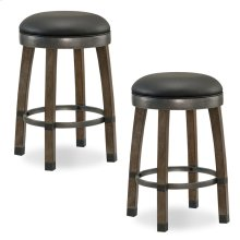 Graystone Wood Cask Stave Counter Height Stool with Black Faux Leather Seat #10118GS/BL - Set of 2