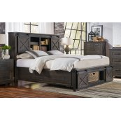 CAL-KING BED - STORAGE HEADBOARD W/ ROTATING STORAGE