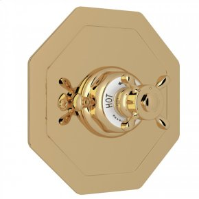 Unlacquered Brass Perrin & Rowe Edwardian Octagonal Concealed Thermostatic Trim Without Volume Control with Edwardian Cross Handle