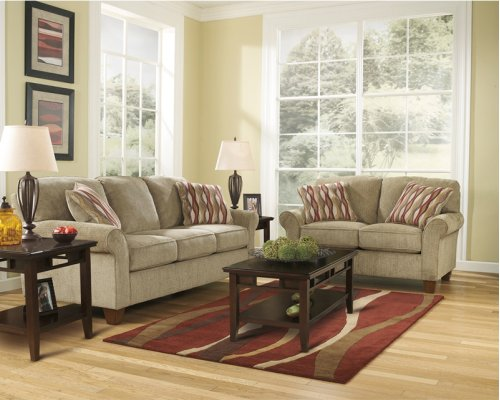 Signature Design by Ashley Newton Living Room Set in Pebble Fabric