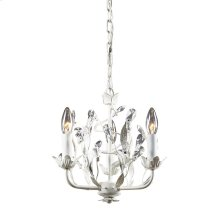 Circeo 3-Light Chandelier in Antique White with Crystal