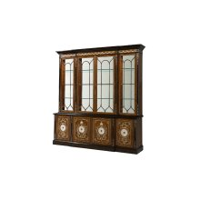 A Pollard Burl, Mother of Pearl Inlaid Library Bookcase