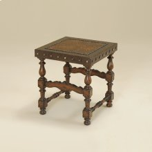 Dark Antique Lido Finished Stool, Embossed Leather Uph, Brass Nailhead Accents
