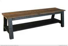 Breakfast & Bedroom Bench w/ shelf, Solid Wood - Brown & Black Finish
