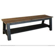 Breakfast & Bedroom Bench w/ shelf, Solid Wood - Brown & Black Finish