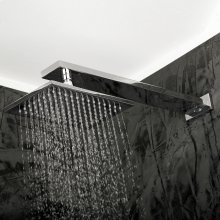 Wall-mount or ceiling-mount tilting rectangular rain shower head, 104 rubber nozzles. Arm and flange sold separately.