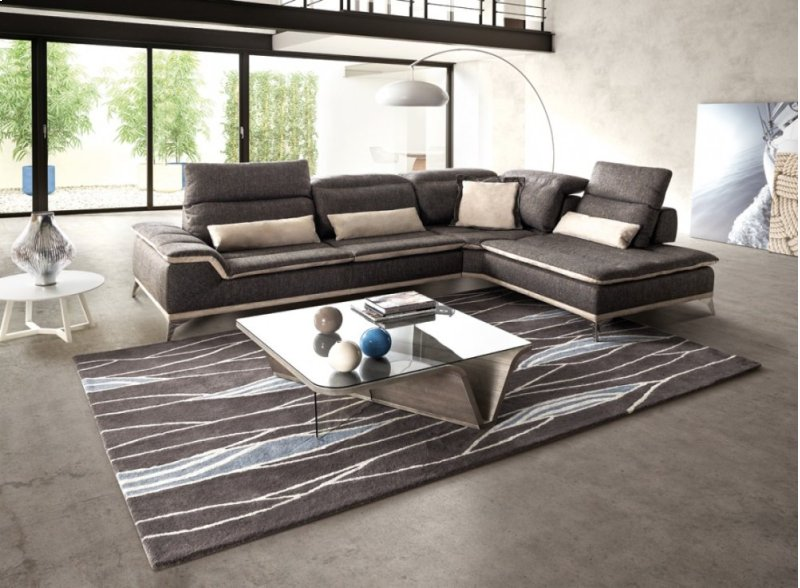 David Ferrari Volare Italian Modern Grey Fabric Sectional Sofa