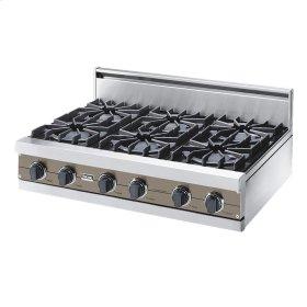 "Stone Gray 36"" Open Burner Rangetop - VGRT (36"" wide, six burners)"