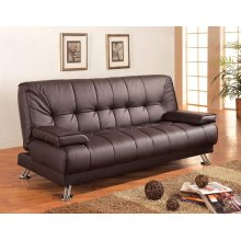 Casual Brown and Chrome Sofa Bed