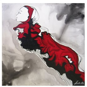 """Oil painting """" Black & Red Woman"""""""