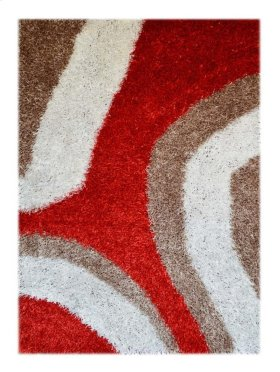 Shaggy Rug With Orange - Red -tan (pile Height 5cm, Pile Weight 3400g/sqm)
