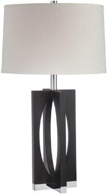 Table Lamp, Dark Walnut/chrome/off-wht Shd, E27 Cfl 23w