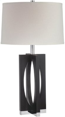 Table Lamp, Dark Walnut/chrome/off-wht Shd, E27 Cfl 23w
