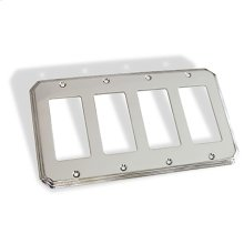 Quad GFI Square Deco Switch Plate - Polished Chrome