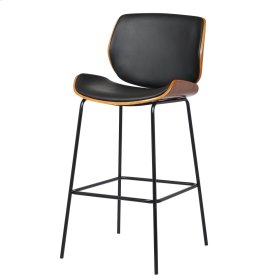 Veda KD PU Bar Stool Black Base, Inkwell/Walnut