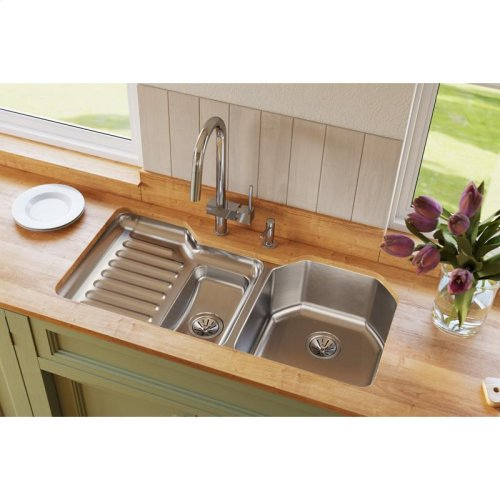 """Elkay Lustertone Classic Stainless Steel 41-1/2"""" x 20-1/2"""" x 9-1/2"""", 60/40 Double Bowl Undermount Sink"""