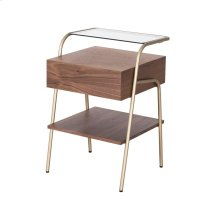 Blanc KD End Table w/ Glass Shelf and Drawer Champagne Gold Legs, Walnut