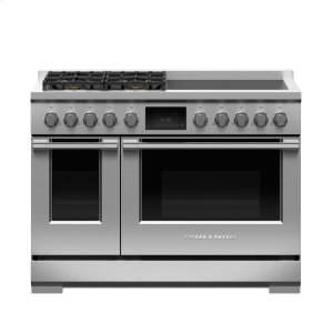 "Fisher & PaykelDual Fuel Range, 48"", 4 Burners with 4 Induction Zones, LPG"