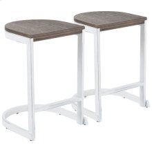 Industrial Demi Counter Stool - Set Of 2 - Vintage White Metal, Espresso Bamboo